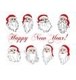 Santa Claus laughing faces icon set vector image