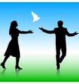 Silhouettes girl and guy released doves into the vector image
