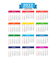 2022 Year calendar isolated on white background vector image vector image