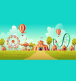 amusement park with circus tent and carousel vector image