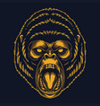 angry gorilla gold vector image vector image