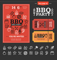 bbq party invitation with thin line icon set vector image vector image