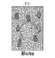 birds tarot card from lenormand gothic mysteries vector image