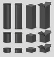 black cardboard box mockup set isolated vector image