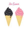 black charcoal and pink vanilla ice cream vector image