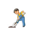 boy in gardening gloves digging ground with shovel vector image