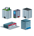 Building isometric set isolated vector image