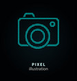 camera - pixel icon on black vector image vector image