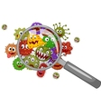 Cartoon bacteria under a magnifying glass vector image vector image