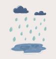 cartoon rain drops clouds and vector image