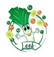 cheerful leek label vector image