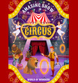 circus show with animals trainer and air acrobats vector image vector image