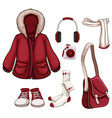 Clothes and accessories in red color vector image