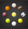 color sport balls set background vector image vector image