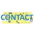 contact concept flat line design with icons vector image vector image