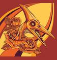 dinosaurus pteranodon head with flower vector image vector image