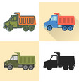 dump truck icon set in flat and line styles vector image vector image