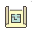 engineering drawing plan icon design 48x48 pixel vector image vector image