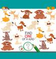 find one dog a kind game for children vector image vector image