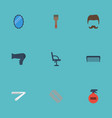 flat icons razor bristle moustache and other vector image vector image