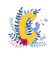 floral alphabet letter c vector image vector image