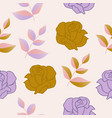 gold and purple roses and leaves in a seamless vector image vector image
