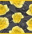 golden rose flower bouquets contour elements vector image