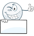 Golf ball character with sign vector image vector image