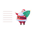 greeting card with cartoon santa claus tree vector image vector image