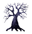 halloween silhouette of watercolor terrible tree vector image