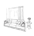 Hand drawn sketch of sofa with pillows vector image