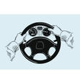 hands on the wheel sketch vector image vector image