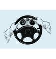 hands on the wheel sketch vector image