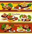 korean bbq meat dishes with vegetables and dessert vector image vector image