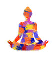 lotus yoga pose concept with colorful abstract art vector image