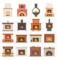 luxurious stylish brick and wooden fireplaces set vector image vector image