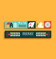merry christmas thin web banner set folk art icon vector image vector image