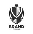 modern logo viking ship and letter v vector image