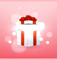 opened gift box with red bow and magic effect vector image vector image