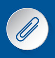 paperclip - simple blue icon on white button vector image