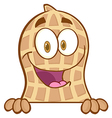 Peanut Mascot Character Condom Over A Sign vector image vector image
