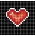 pixel art heart love sign on black in white cell vector image vector image