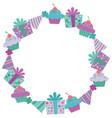 purple birthday items wreath vector image vector image
