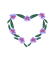 Purple Rhododendron Flowers in A Heart Shape vector image vector image