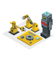 robot factory in isometric style vector image