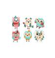 set humanized stylish owls vector image vector image