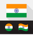 set india flag flat design vector image vector image