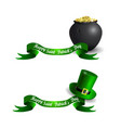 stpatrick s day banner set with pot and gold vector image