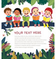 template with kids on tree branch reading book vector image vector image