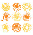vintage paper cut sunflowers daisies flowers set vector image vector image